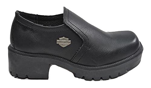 Harley-Davidson Side Car Slip on Girls Black Shoes Kids/Youth (1) (On Slip Boots Davidson Harley)