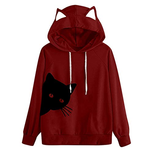 URIBAKE Womens Slouchy Hoodie Cat Ear Hood Long Sleeve Color Block Trendy Pullover Sweatshirt Tops Blouse Wine