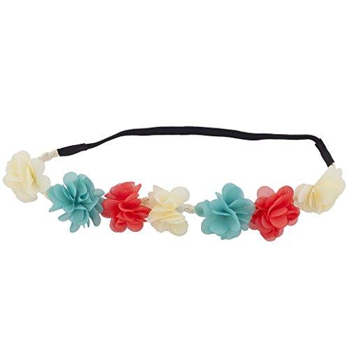 Lux Accessories Multicolor Faux Ivory Chiffon Flower Headband Flower Crown Headband