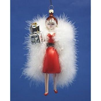 Amazon Com De Carlini Lady In Red Dress White Fur And