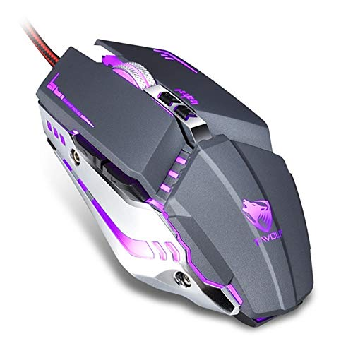XINHUANG Professional Gaming Mouse 3200DPI LED Optical USB Wired Computer Mice Gamer Mause Cable Game Ergonomic Mouse for Laptop PC (Color : Gray)