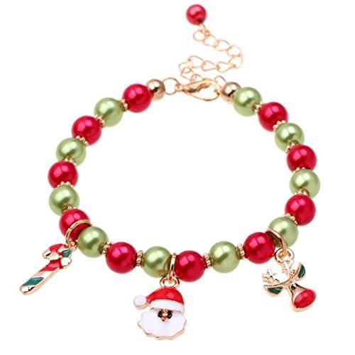 Demarkt 1 Pcs Bracelet Réglable Bracelet Bricolage Motif Noël Renne Grand Trou Perle pour Décoratif Cadeau Anniversaire Bracelet Noël