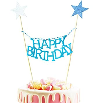 amazon com little feather happy birthday banner cake topper garland