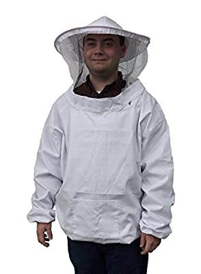 New Professional White Medium / Large Beekeeping / Bee Keeping Suit, Jacket, Pull Over, Smock with a Veil by VIVO