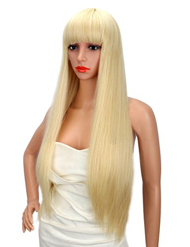 Kalyss 28 Inches Women's Long Straight Premium Yaki Synthetic Blonde Full Hair Wig with Hair Bangs -