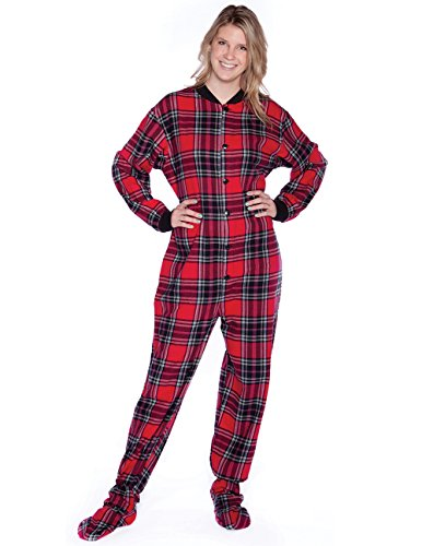 Big Feet Pajama Co. Footed Pajamas, Plaid Flannel - Roomy Fit w/Non Slip Soles - Flannel Crazy Pajamas