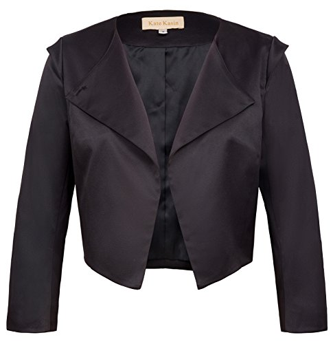 Cotton Cropped Blazer - Kate Kasin Women's Cropped Sleeves Lapel Collar Asymmetric Blazer Coat XL KK773