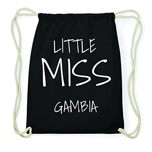 JOllify GAMBIA Hipster Turnbeutel Tasche Rucksack aus Baumwolle - Farbe: schwarz Design: Little Miss