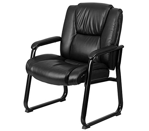 Premium Series Big & Tall 500 lb. Rated Black Leather Executive Side Reception Chair with Sled Base