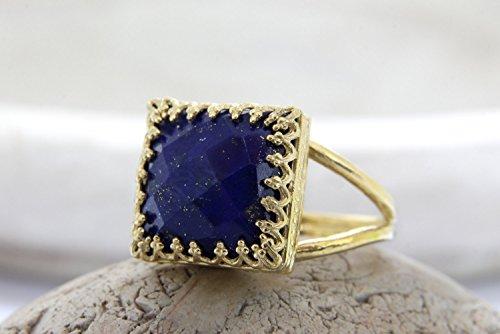 Square Stacking Ring (Lapis gold ring,September birthstone,Lapis Lazuli ring,square ring,gemstone ring)