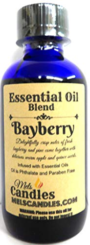Mels Candles & More Bayberry 4oz / 118.29 ml Blue Glass Bottle of Premium Grade A Essential Oil Blend/Fragrance -