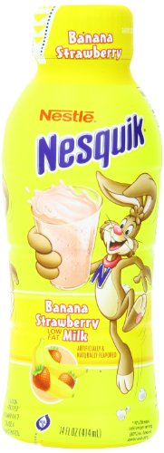 Nestle Nesquik Low Fat 1% Milk, Banana Strawberry, 14 Ounce (Pack of 12)