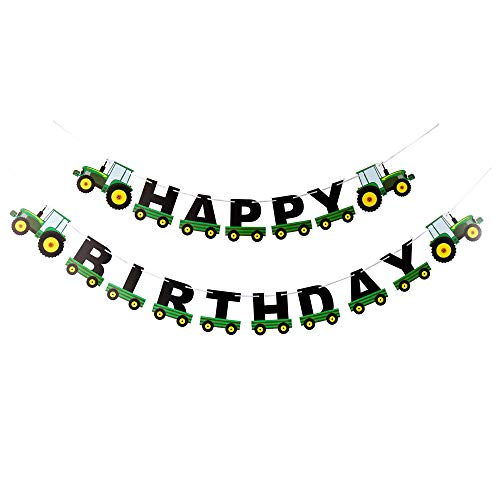 (Farm Green Tractor Happy Birthday Banner Party Supplies for Farm Time Themed Birthday)