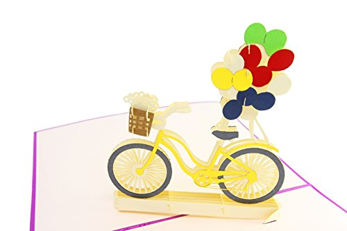 PopLife Bicycle & Balloons, Springtime 3D Pop Up Greeting Card for All Occasions - Mother's Day, Fathers Day, Bike Card, Happy Birthday, Get Well - Thank You, Wedding, Baby Shower Card - Folds Flat fo ()