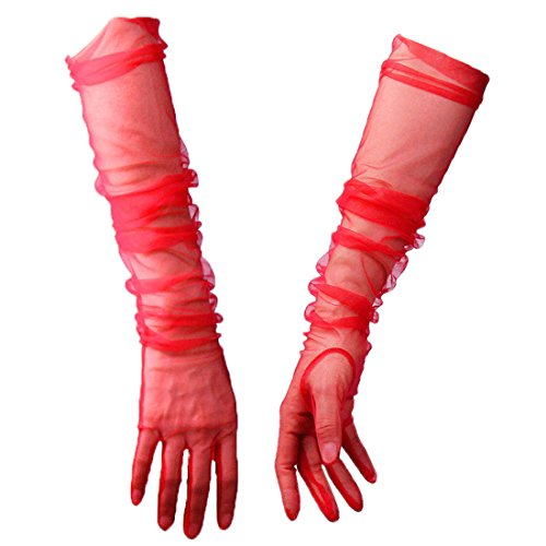 Women Tulle Long Gloves Lace Deep Red Red Semi Sheer TECH Touchscreen Bridal Wedding (Red) (Bridal Gloves Sheer)