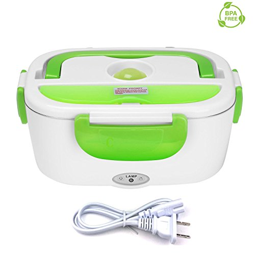 Vmotor Electric Lunch Box Food Heater Portable Lunch Heater with Removable 304 Stainless Steel Container Food Grade Material(110V - Heater Green