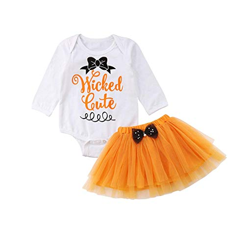Baby Girl Wicked Cute Romper + Tulle Skirt Halloween Costume Set (6-12 M, Orange) for $<!--$12.99-->
