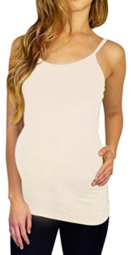 Maternity Tank Top Camisole Cami Shirt Clothes Seamless Super Stretch Soft Material (Ivory, M