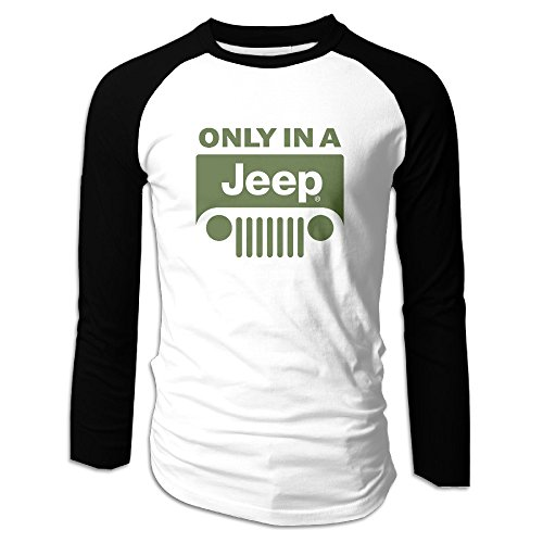 Price comparison product image Men's Only In Jeep Logo Long Sleeve Raglan Tee Shirts Print