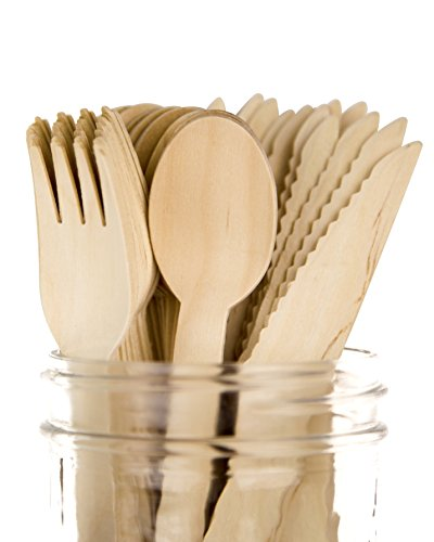 Plastic Silverware Bag (Woodblūm 200pc Biodegradable & Disposable Wooden Cutlery Set - 100 Forks, 50 Spoons, 50 Knives - 100% Compostable, Sustainable Birch - 6¼ Inch)