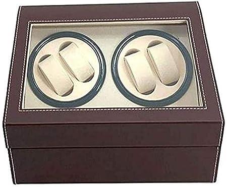 4 + 6 Caja automática para enrollador de relojes Caja de reloj de cuero de PU con una fuente de alimentación silenciosa Relojes Turner para relojes automáticos 2 relojes giratorios Caja de reloj Dreh