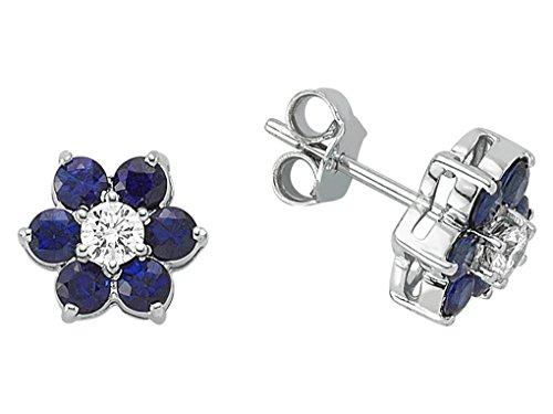 Boucles d'Oreilles Saphirs et Diamants-Femme- or Blanc 217E0027