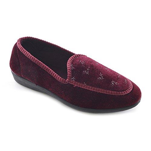 KS Brands - Zapatillas de estar por casa de algodón para mujer Vino