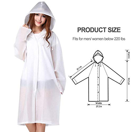 Rain Ponchos for Adults, Thick Emergency Waterproof Rain Poncho with Drawstring Hood Raincoat for Men Women, Rain Poncho for Outdoors, Theme Parks, Hiking, Camping, School Sporting Activity - 2 Pack