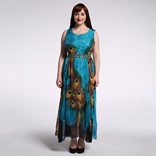 JIALELE Plus Size Beach Chiffon Skater Dress - Animal Print, Lace Ruffle Maxi,Green,XXXL