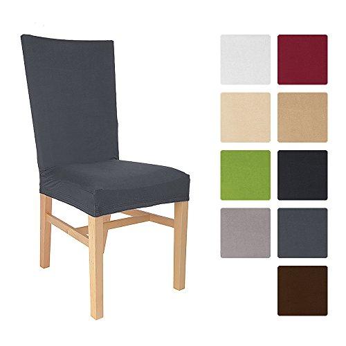 Beautissu® Stuhlhusse Emma - 45x45 cm Stretch-Stuhlbezug aus Baumwolle - Bi-Elastic Husse - ÖKO-TEX - Anthrazit