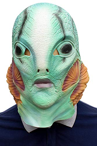Adult HB Abe Sapien Cosplay Mask B.P.R.D. Blue Helmet Full Head Latex Prop Headgear Halloween Costume Accessory ()