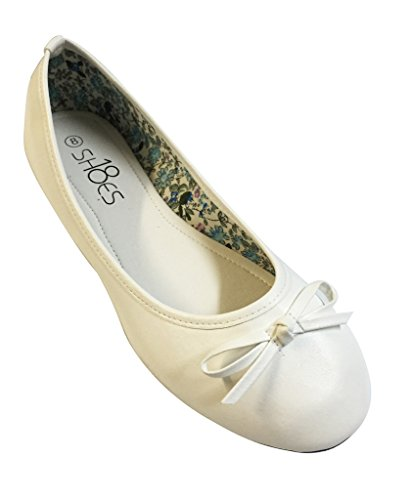 Shoes Toe Ballet 113 Round Womens Classic Flat Ballerina White 18 Shoes RIn8Awqgg