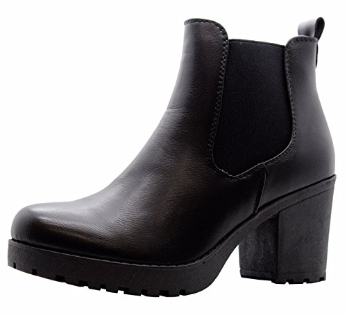 Ankle Shoes Ladies 2 Womens Chelsea Biker Mid Block Platform Chunky UK 3 Heel Boots Black Size nURnq4Caw