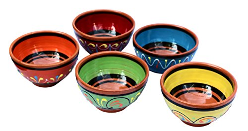 Terracotta Salsa Bowl Set of 5 - SMALL European Size - Hand Painted From - Cotta Mexican Terra