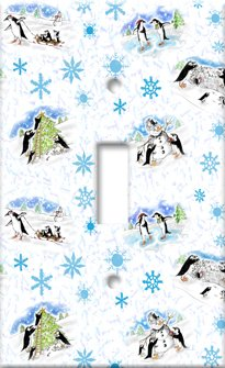 Art Plates Christmas Penguins Switch Plate - Triple Toggle
