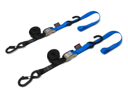 1'' x 6ft Cam Buckle Soft-Tye Tie-Downs with Latch Hook, Blue (pair)