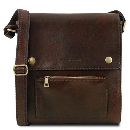 Tuscany Leather Oliver Bolso para hombre en piel con bolsillo delantero - TL141656 (Negro) Marrón Oscuro