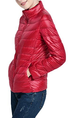 Mochoose Chaqueta Clásico Portátil de Plumón Ligero Cremallera Chaqueta Parka Invierno Para Mujer Rojo