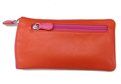 ILI Leather Eyeglass Pouch Two Toned Orange/Hot Pink