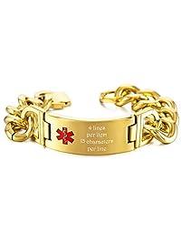 MeMeDIY Gold Tone Stainless Steel Bracelet Medical Alert ID Chain Link - Customized Engraving