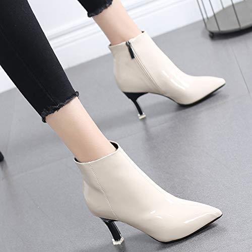 Zapatos Aguja Botas Cremallera Punta Con Espalda En Martin De Beige 39 Para Hrcxue Corte Moda Mujer La Tacones gwnqpW7d1