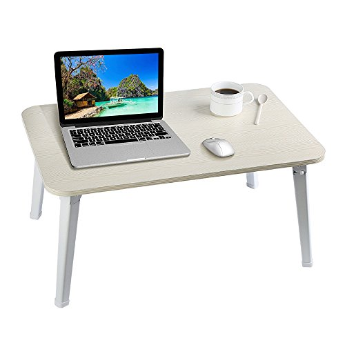 HOME BI Laptop Table for Bed, 23.7''x15.8''x11.3''(Large Size), Multifunction Lap Desk With Foldable Legs and Portable Size, Fit for 17'' Laptop or Smaller (White) by HOME BI