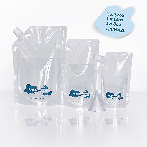 Cruise Alcohol Travel Flask Sneak Kit by CAMOFLASK Concealable Plastic Flasks for Liquor to Smuggle Drinks Rum Cocktails Spirits Wine. 3 Single Runners (1x32oz + 1x16oz + - Cruise Buddy Booze