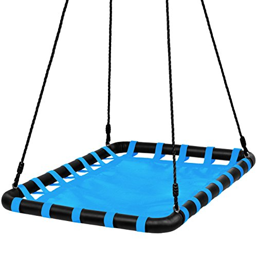 Price comparison product image Best Choice Products 40x30in Kids Outdoor Large Heavy-Duty Mat Platform Tree Spinning Swing w / Rope,  Metal Loops - Blue