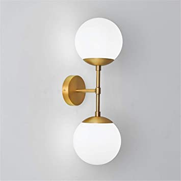 Injuicy Modern Copper Glass Ball Wall Lamp Magic Bean Globe Molecular Brass Wall Light Sconce For Restaurant Living Room Bathroom Mirror Headlights Bedside In Gold Color 2 Lights Wall Lamps Sconces