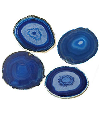 AMOYSTONE Blue Agate Coaster Cup Mat Dyed Sliced Agate Beverage Coasters Small for Drinks Gift Set of 4 Plates Blue 3-3.5
