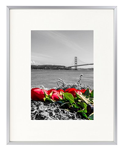 Frametory, 8x10 Table-Top Metal Picture Frame Collection, Aluminum Photo Frame with Ivory Color Mat for 5x7 Picture & Real Glass -