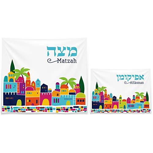 Plate Passover Matzah (Matzah Cover & Afikoman Bag Set For Passover - Satin White Matzo Set)