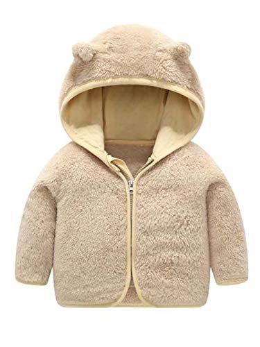 Voopptaw Unisex Baby Cartoon Ear Shape Light Zip-up Hooded Jacket Sherpa Fleece Coat Sweatshirt Khaki 6-12 Months