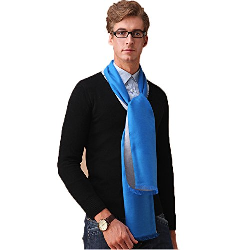 Mens Spring 100% Silk Brushed Solid Long Fashion Scarves Mufflers with Gifts (Performance Brushed Twill Shirt)
